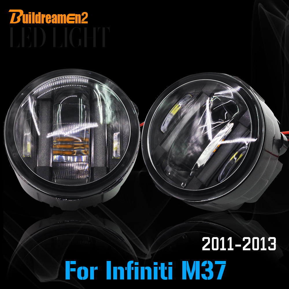 Buildreamen2 For Infiniti M37 2011 2012 2013 Car Styling LED Light Fog Bulb Daytime Running Lamp DRL High Power 2 Pieces cawanerl 2 pieces car styling led fog light daytime running lamp drl 12v for infiniti g37 sport 3 7l v6 gas 2011 2012 2013