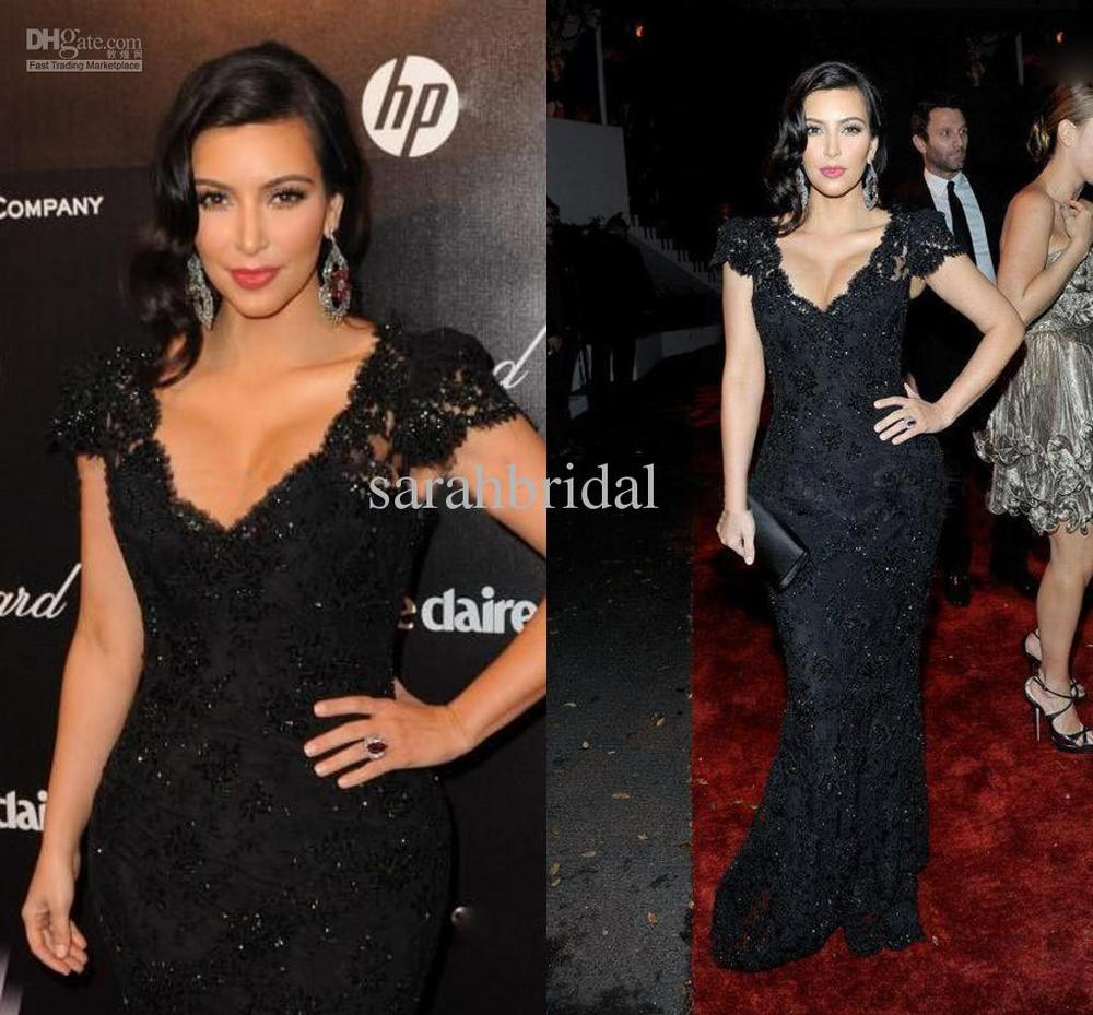 Charming Good Design New Fashion Kim Kardashian Iest Oscar Lace V Neck Black Celebrity Dress Prom Evening Gown Custom Made In Inspired Dresses