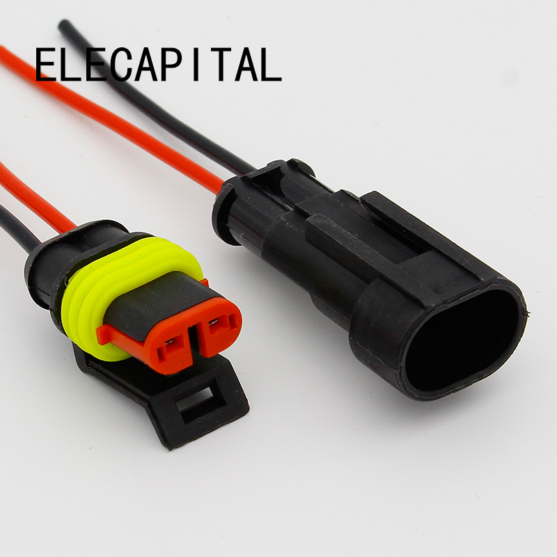 2 Pin Way Sealed Waterproof Electrical Wire Connector Plug Set auto connectors with cable black 50 sets 4 pin dj3041y 1 6 11 21 deutsch connectors dt04 4p dt06 4s automobile waterproof wire electrical connector plug