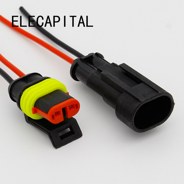 2 Pin Way Sealed Waterproof Electrical Wire Connector Plug Set Auto Connectors With Cable