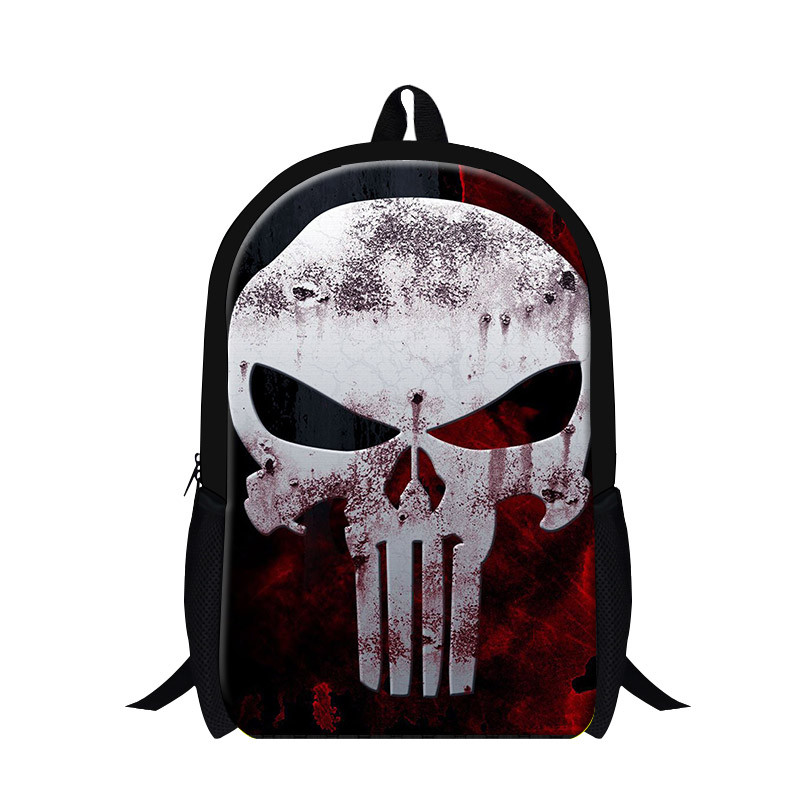 Skull Canvas Daily Backpack Large Capacity School Bag Punk Double Shoulders Bag Sport Travel Bags