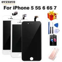 Numériseur d'affichage à cristaux liquides d'assemblage noir/blanc pour iPhone 6s AAA écran tactile d'affichage à cristaux liquides de qualité pour iPhone 6 7 5s pas de Pixel mort avec des cadeaux