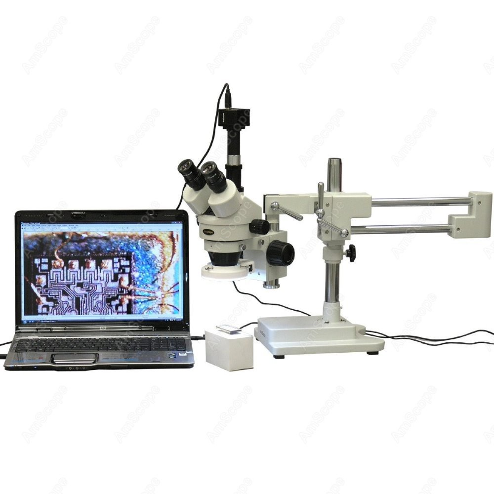 Trinocular Stereo Microscope Amscope Supplies 35x 90x Led Circuit Ledcircuit Inspection Zoom 3mp Camera In Microscopes From Tools On