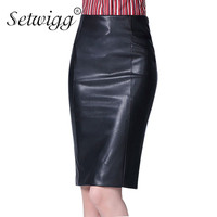 High Quality PU Leather Pencil Skirts 2015 Empire Waisted Zipper Vintage Spring Black Faux Leather Bodycon