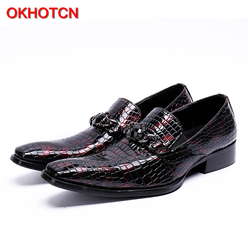 OKHOTCN 2018 New dark red embossed leather men's business shoes the crocodile grain shoes slip-on square toe male party shoes branded men s penny loafes casual men s full grain leather emboss crocodile boat shoes slip on breathable moccasin driving shoes