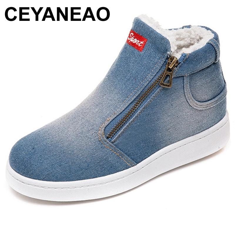 06f7651c286 Redonda azul Casuales Mujer Zapatos Denim De Alta Punta Azul Planos Nieve Botas  Empuje Jeans Cielo Ceyaneaofleece E762 Invierno AOqa75Iw