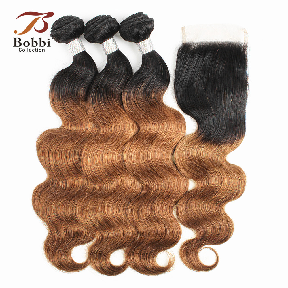 BOBBI COLLECTION 3 4 Bundles With Closure T 1B 30 Ombre Brazilian Boby Wave Hair Weave