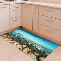 Sea Shoal 3D Effect Floor Stickers Removable Waterproof Anti slip Mural Decal Wall Stickers Bathroom Living Bedroom Home Decor