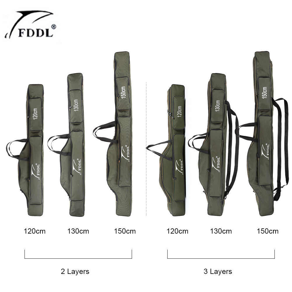 FDDL Fishing Bags 2/3 Layer Multifunctional Fishing Rod Reel Lure Canvas Pole Storage Case 120/130/ 150cm Carp Fishing Tackle