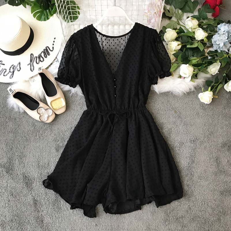 NiceMix Women Polka Dot Chiffon Overalls Sashes Korean Short Sleeve V Neck Beach Rompers Loose Casual Summer Wide Leg Playsuits