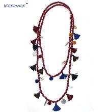 Новое богемное длинное деревянное ожерелье из бисера в стиле