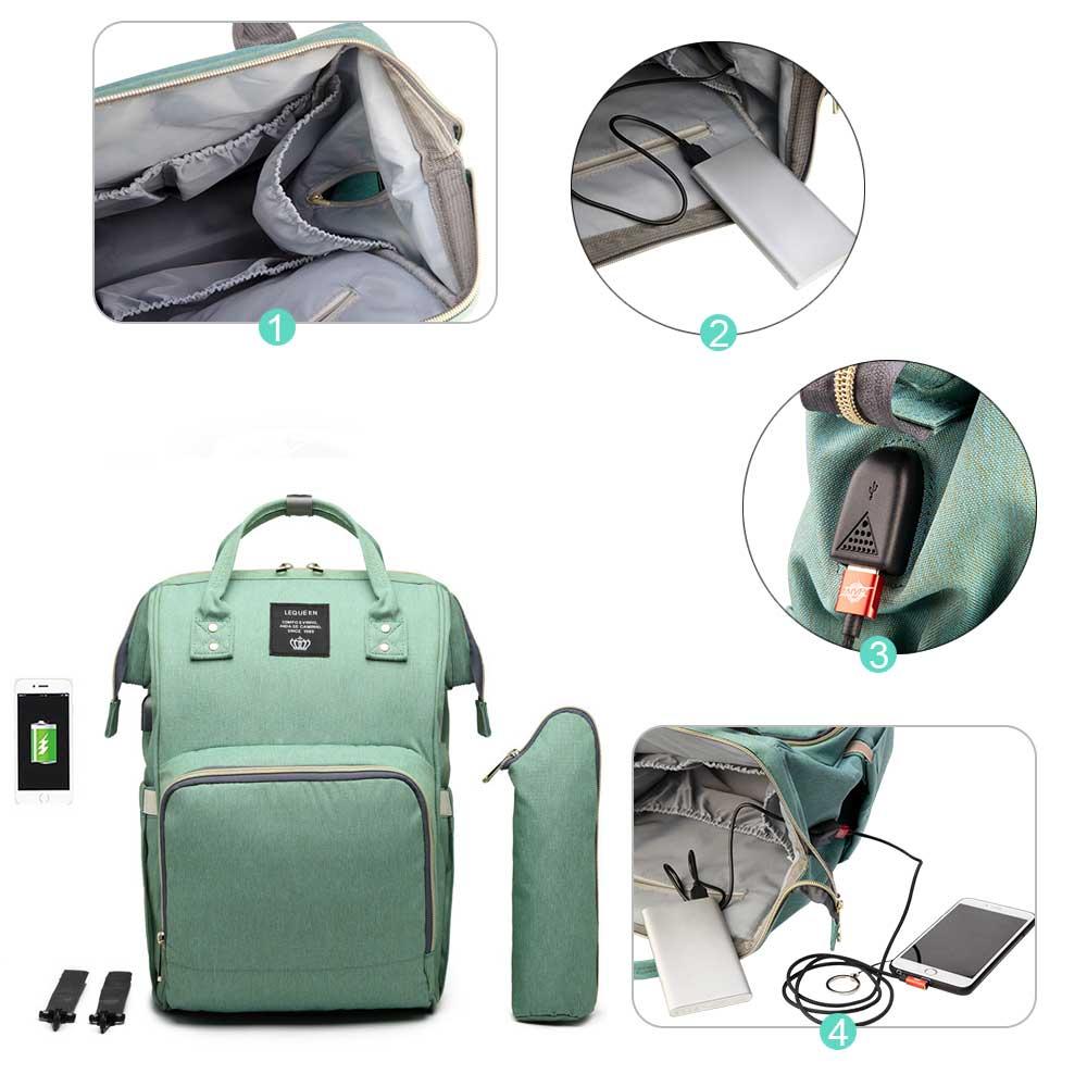 HTB1BLJpPbPpK1RjSZFFq6y5PpXaf Lequeen USB Mummy Maternity Nappy Bag Brand Large Capacity Baby Bag Travel Backpack Designer Nursing Bag for Baby Care