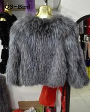 knitted 100% Real silver fox fur coat jacket overcoat women's fashion winter warm genuine fur coat ourwear