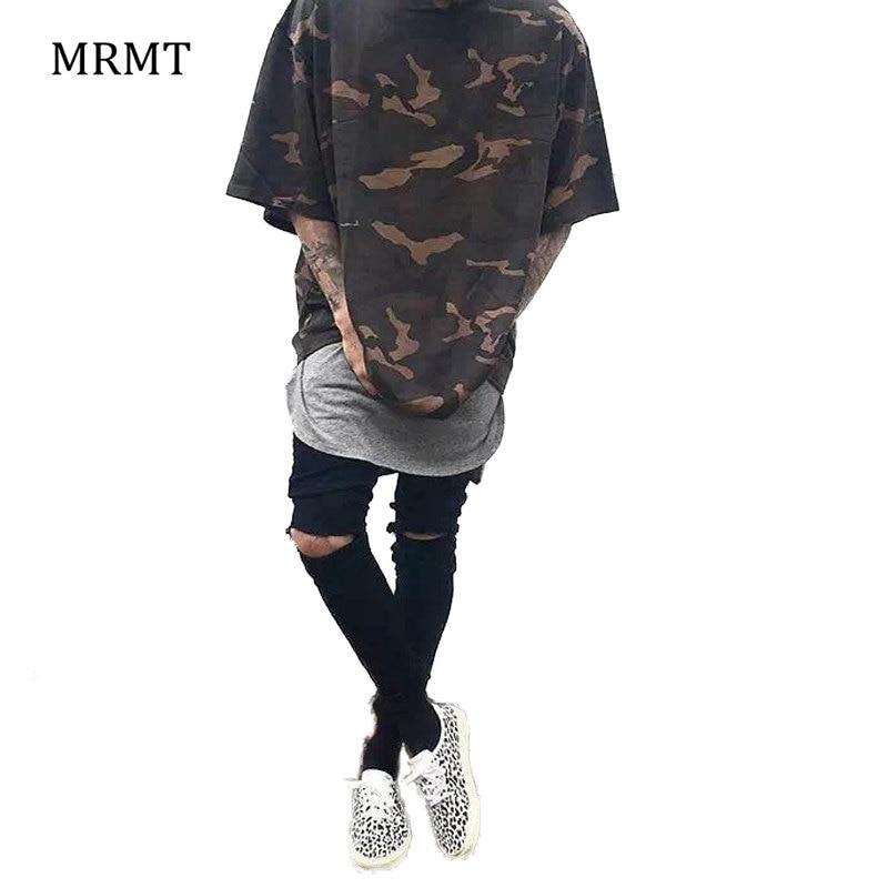 2018 Camo Tee Hip Hop Moda Erkek T-Shirt Askeri Kamuflaj Erkekler Kısa Kollu O-Boyun Batı T Gömlek Sokak giyim S-XXXL Için