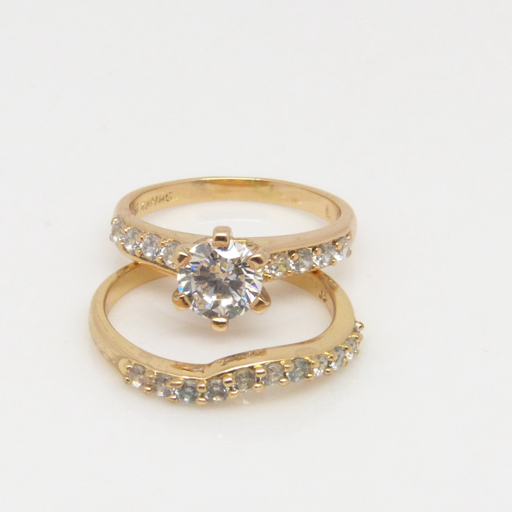 Two Pieces Wedding <font><b>Ring</b></font> Yellow Gold Filled Single <font><b>Raw</b></font> <font><b>Crystal</b></font> CZ <font><b>Ring</b></font> Sets For Women Size 7 image