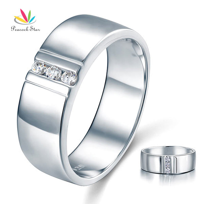 Peacock Star Round Cut Men's Wedding Band Ring Solid 925 Sterling Silver Jewelry CFR8054
