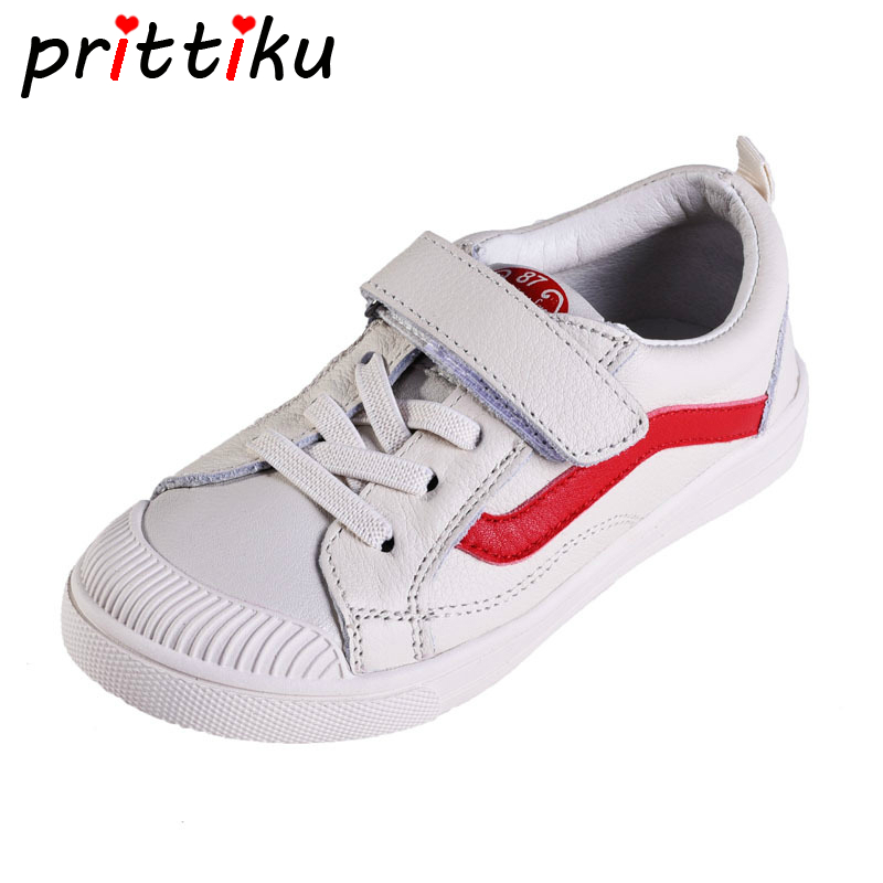 Autumn 2018 Baby Toddler Boy Girl Genuine Leather Sneakers Little Kid White Black Trainers Children Casual Brand School Shoes