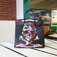 2016 Fashion Graffiti Printed High Quality PU Leather Handbag Platinum Package Buckle handbag Black Skull 35CM Large bag