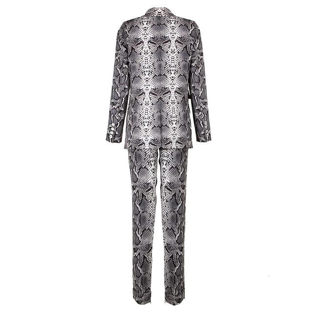 Kylie Jenner Snake-Print Pants Suit Designer Quality Two-Button Snakeskin Cotton Twill Peak Lapel Jacket Skinny Pants 2 Piece Set 4