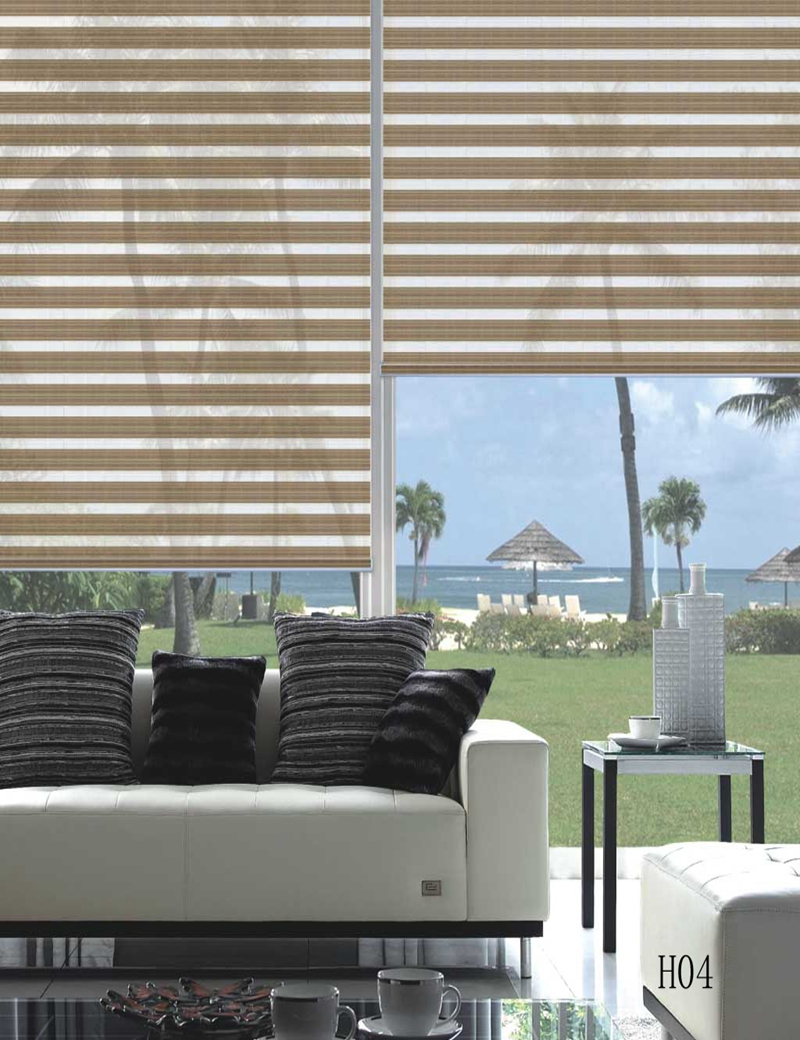 Custom Size Shade 100Polyester Translucent Roller Zebra Blinds In Beige Window Curtains For Living Room 20 Colors Are Available