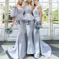 blue bridesmaid dress sweetheart neckline satin mermaid maid of honor dresses 2019 cheap