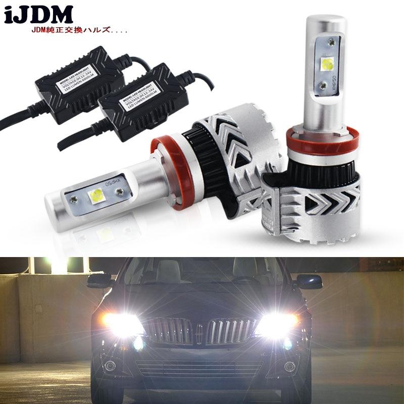 iJDM Car LED Headlight H11 H8 LED Bulbs 6000K White XHP50 Chip LED For Automotive High Low Beam Lights Headlight Fog Light Bulbs