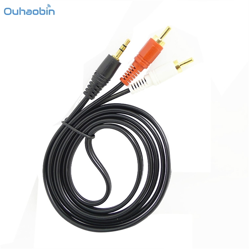 цена на Ouhaobin New 1.5m 5 ft Y 3.5mm Male Plug to Dual 2 RCA Jack Cable Stereo PC Audio Splitter Aux To 2 RCA Audio Cables cavo Oct23