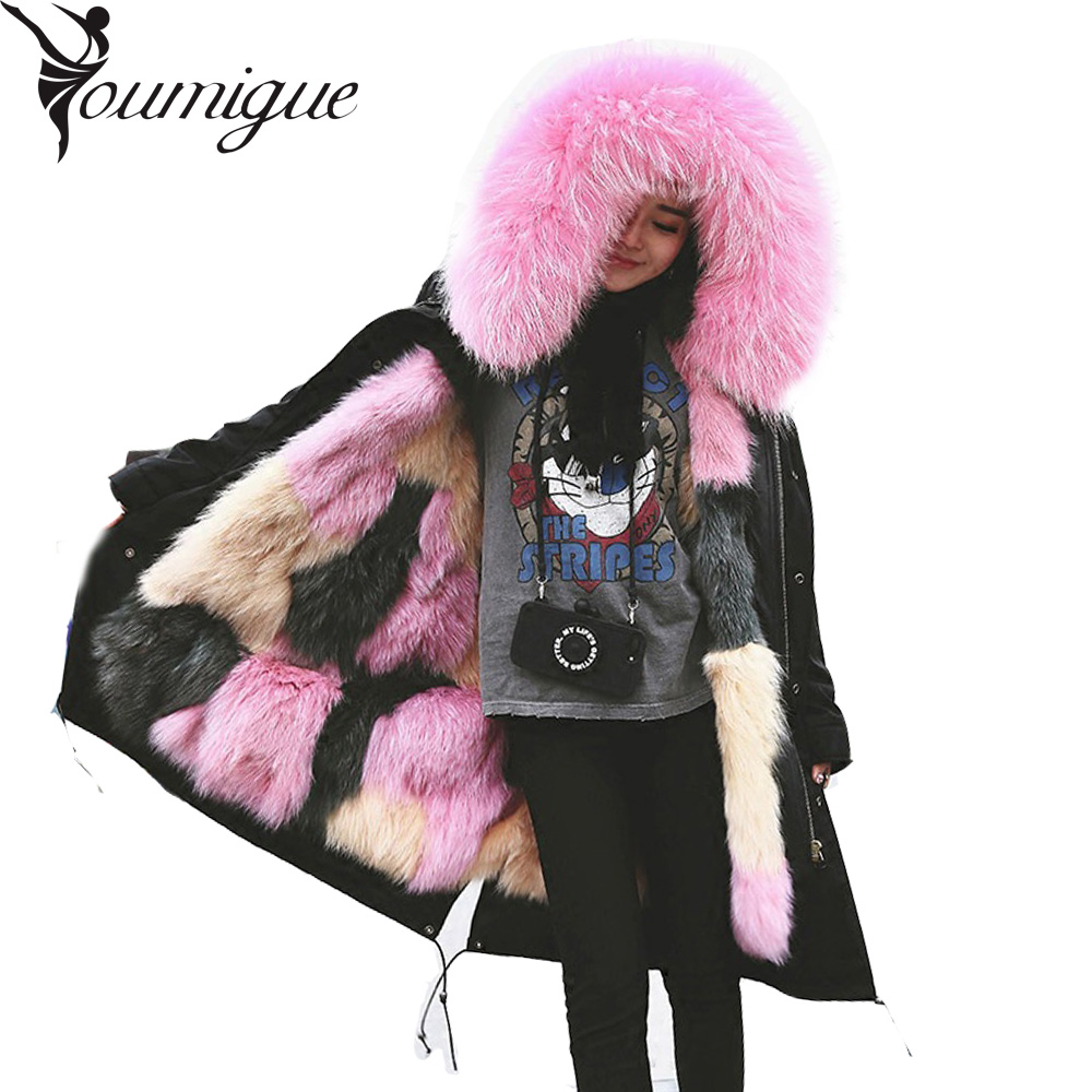 Women Fur Parka New 2016 Winter Warm Jacket Coats Thick Parkas Real  Fur Collar Hooded Fox Fur Lining Parka Female