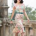 Le Palais de La Vendimia El Envío Libre 2016 Otoño Nueva Elegante Sexy Manchas de color Hit Color de Cuello En V Aceptar Cintura Vestido de Sirena mujeres