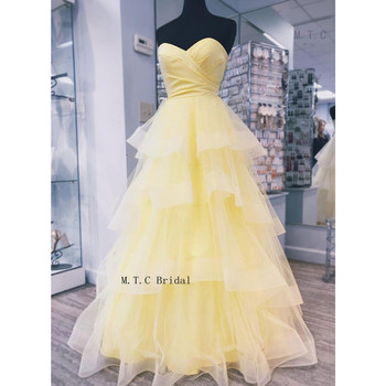 Elegant Tiered A Line Long Yellow Evening Dress Strapless Floor Length 2019 New Arrival Prom Gowns Real Photos Vestido De Festa