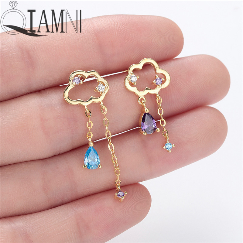 QIAMNI Delicate Asymmetry Crystal Zircon Cloud Tassel Long Chain Stud Earrings Women Birthday Lovers Gift Pendientes Brinco
