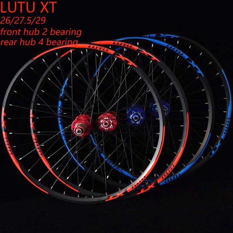 LUTU bicycle wheelset MTB mountain bicycle front 2 rear 4 sealed bearings disc wheels 26 27.5 29er wheelset rim