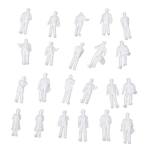 100 sztuk HO skala 1:100 biały Model ludzie niepomalowane pociąg figury