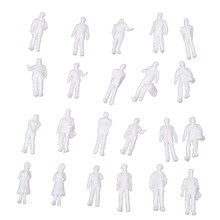 100pcs HO Scale 1:100 White Model People Unpainted Train Figures(China)