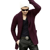 Mens Cardigan Sweater 2015 Autumn Winter Warm Thick lapel knitted coat cotton Fashion casual long sleeve