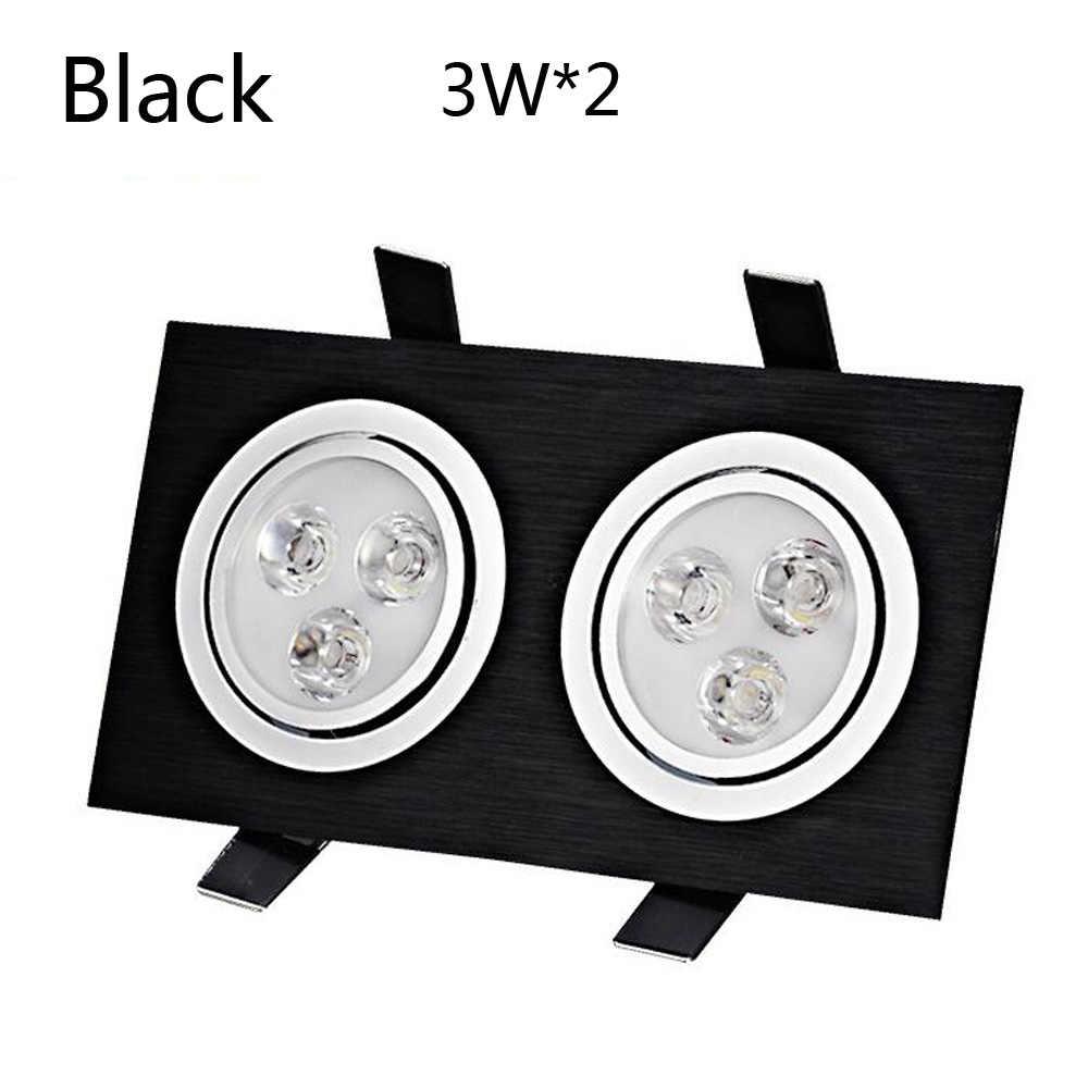 Встроенные в помещении светодиоды на решетку освещение с двойной точечной подсветкой 3 Вт 5 Вт 7 Вт 9 Вт 12 вт установка дерзкая решетка свет квадратный потолочный светильник прожектор