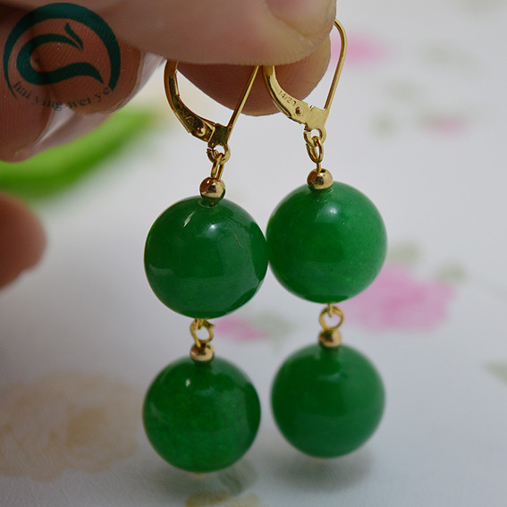 Unique 12MM Jade Earrings Round Color Green Jade Jewellery 14/20 Gold Plated French Hook Dangle Earrings Women Jade jewelry gold plated stone asymmetry dangle earrings