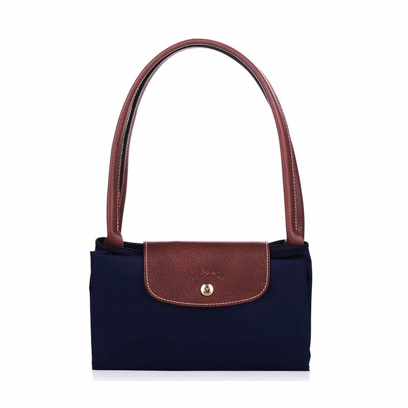 New-folding-shopping-bag-women-nylon-bag-casual-tote-bag-lightweight-foldable-waterproof-nylon-handbag-black (3)
