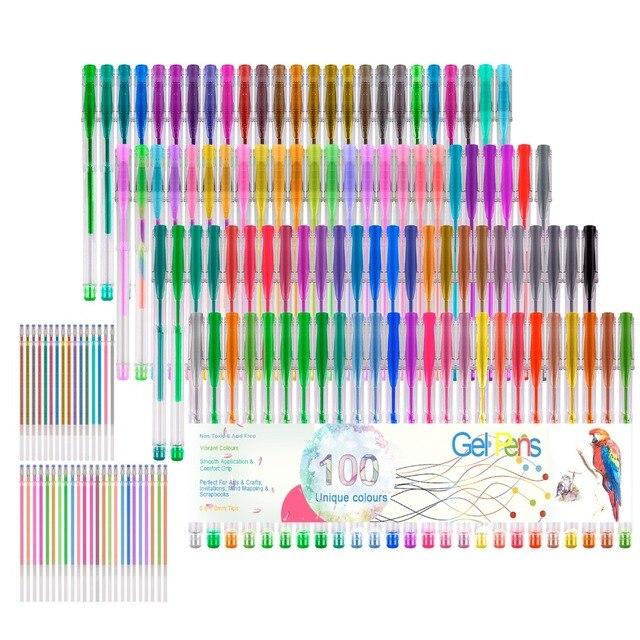 48 100 Colors Gel Pens Set Ink Gel Pen For Adult Coloring Books Art