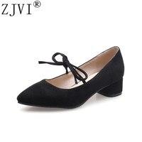 ZJVI women square low heels pumps 2018 summer autumn woman nubuck shoes ladies womens sexy bowtie red black casual party pumps