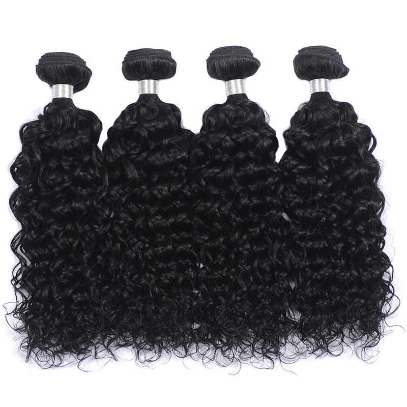 Pinshair Menselijk Haar Weave Bundels Indian Water Wave Haar Bundels Natuurlijke Zwart 100% Human Hair Extension 1/3/4 Stuks non-Remy