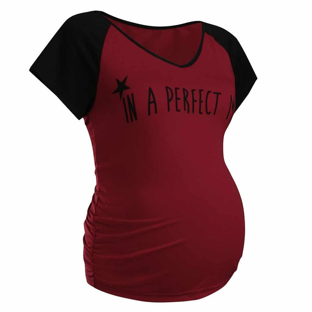 Femmes maternité manches courtes comfortable col en v lettre imprimer hauts T-shirt enceinte femmes vêtements ropa embarazada enceinte allaitement