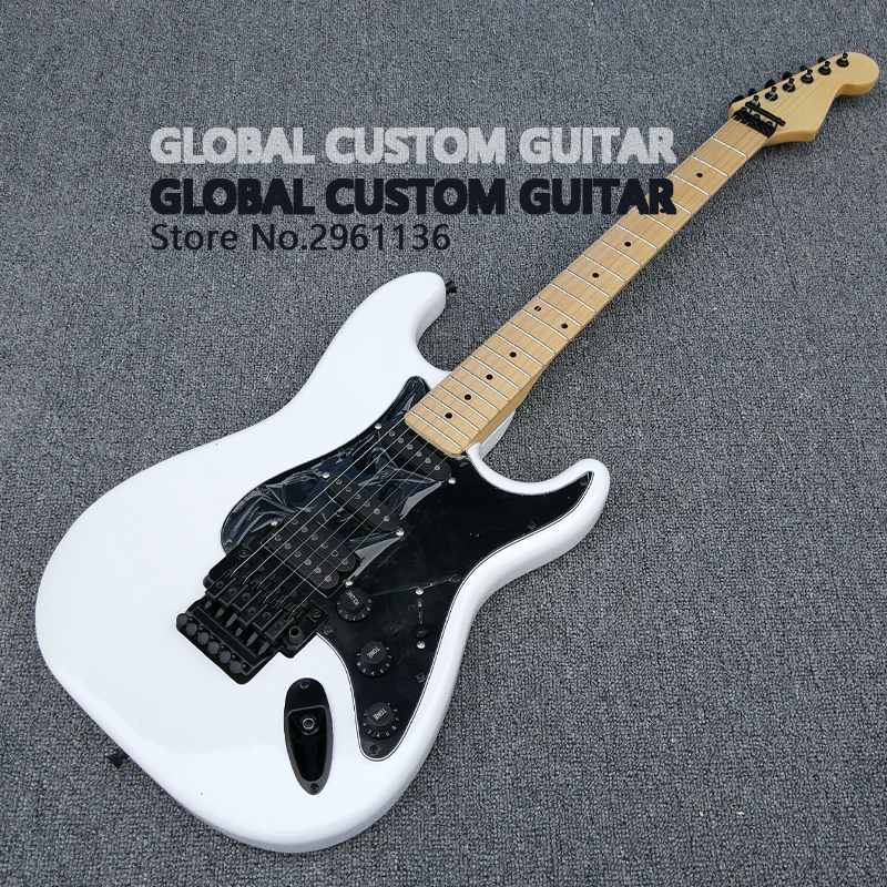 Floyd rose,High quality floyd rose st electric guitar,6 string guitar,White body and maple fingerboard,Real photos,Free shipping high quality tl guitar map panel transparent brown custom electric guitar 6 strings guitars real photos free shipping