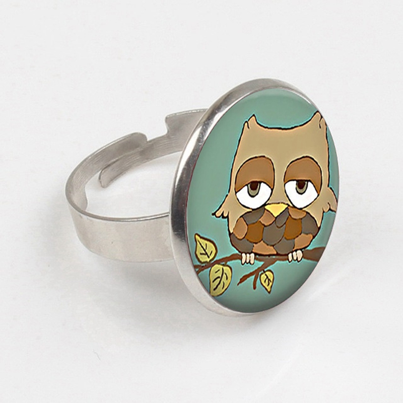 GDRGYB 2019 Cartoon Sleepy Owl Ring Sleepy Owl Cabochon Glass Ring Owl Lover Gift Retro Owl Ring Cute in Rings from Jewelry Accessories