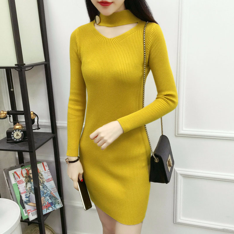 7f56409e2d ... Noodles Long Sleeve Women Clothes Yellow. Lguc.H Trendy Social Office  Dress Winter Knit Warm Tight Dress Sexy Mini Bodycon Dress