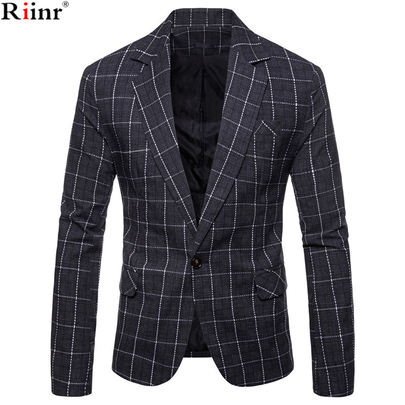 Riinr New Arrival Brand Clothing Autumn Suit Blazer Men Fashion Slim Male Suits Casual Solid Color Masculine Blazer Size M 3XL
