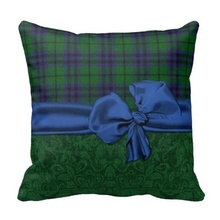 Worse Green Damask And Tartan Plaid Cushion Cover (Size: 45x45cm) Free Shipping