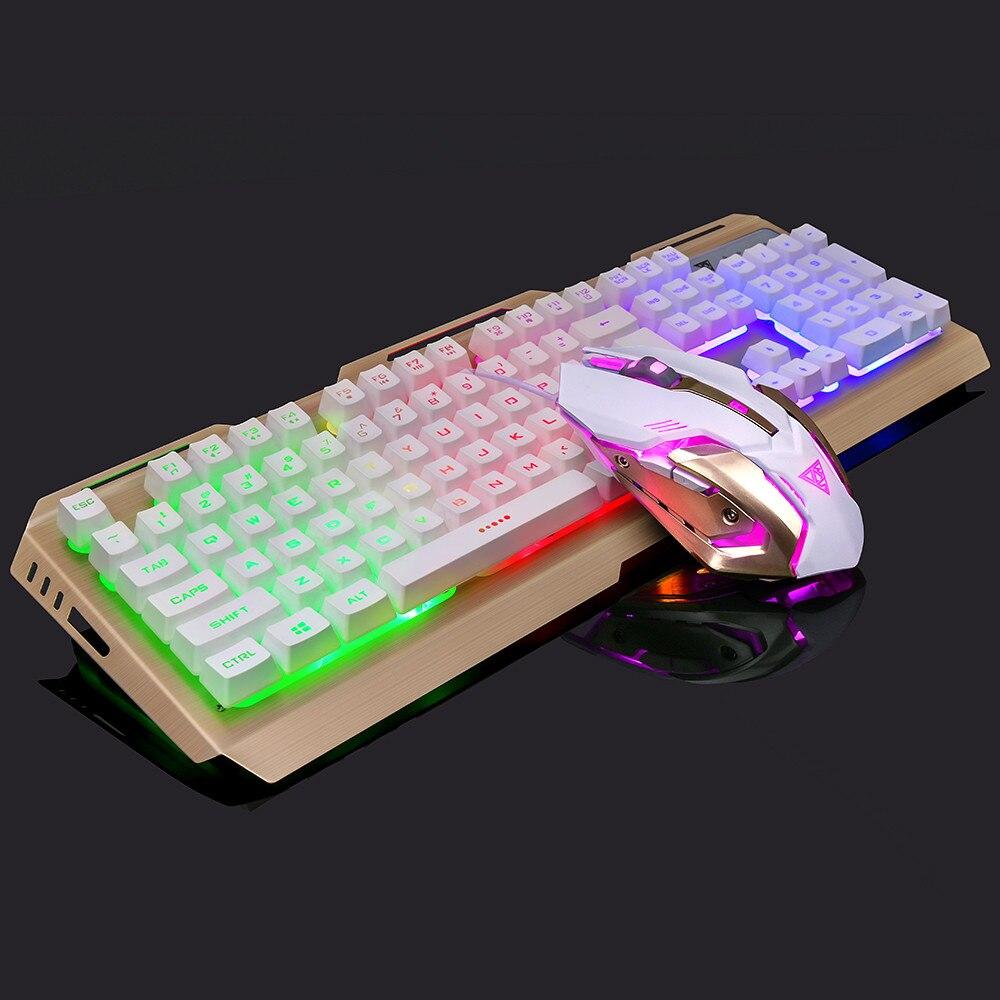 Professionnel Clavier de Jeu Mécanique Clavier Souris Combo V1 104 Clé USB Filaire RGB LED Retour 20J Drop Shipping
