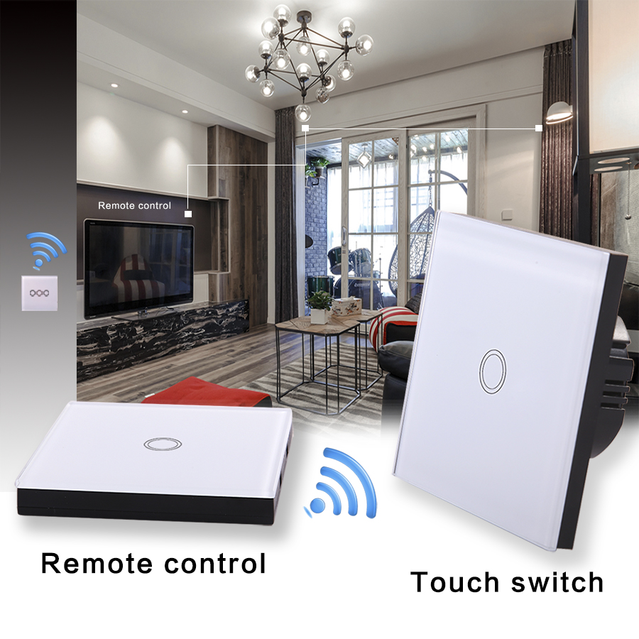 Vhome EU / UK Standard Wireless remote control RF433Mhz+Wall lighting  Crystal Glass Panel Smart Touch Switch AC170-240V smart home eu touch switch wireless remote control wall touch switch 3 gang 1 way white crystal glass panel waterproof power
