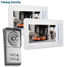 Yobang Security freeship DHL New Apartment Video Intercom 7 inch LCD Touchkey Video Door Phone Doorbell intercom System 2 house
